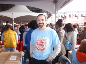 Photo of Eliot LeBow and behind him you see the sea of walkers, taken by Peter Jones one of the Masons who came and volunteered.